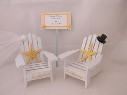 Wedding Reception Adirondack Chairs Beach Sign Starfish Cake Topper White