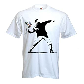 Banksy T-shirt - Flower Thrower - White - Small