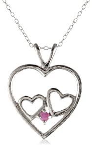 Sterling Silver and Ruby Multi-Heart Pendant Necklace, 18""