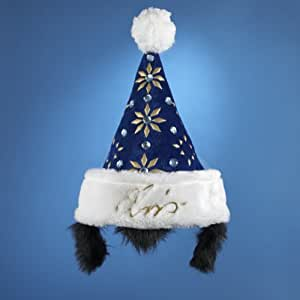 Elvis Presley Blue Santa Hat With Sideburns 16""