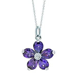 Pugster Silver Amethyst Purple Crystal Flower Dangle Link Charm Charms Bracelet & Pendant Necklace