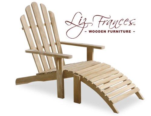 1.21m 'Lewes' Adirondack Gartenstuhl aus Teakholz mit Fußstütze von Liz Frances günstig online kaufen