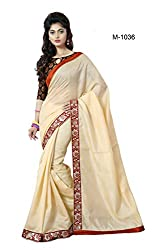 Sk Creation Gorgeous Beige Lace Embroidered Party Wear Saree