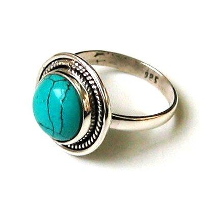 Shanya Sterling Silver Ethnic Ring Turquoise Howlite