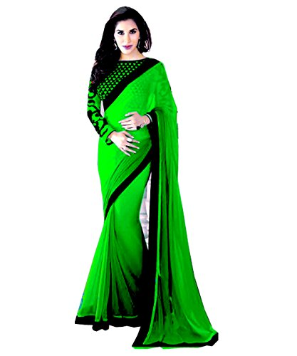 Winza Women's Chiffon Saree (Flock.black_green_Green)