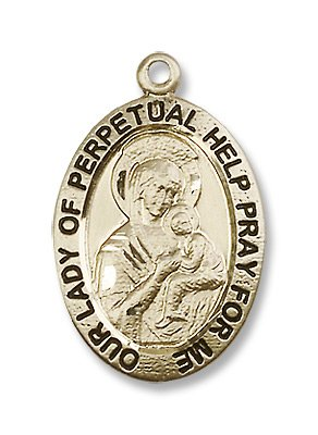 Gold Filled Our Lady of Perpetual Help Medal Pendant Charm with 24