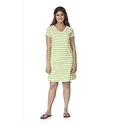 Clifton Womens Long Top - Small Stripes - Parrot Green - Large