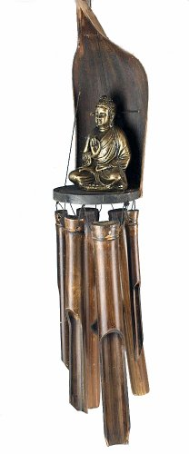 Large Thai Buddha Bamboo, Banana Leaf And Wood Wind Chime Mobile