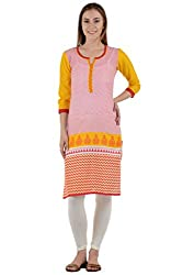 Sanchey Embroidered Women's Straight Red Kurta X-Large(Cotton )