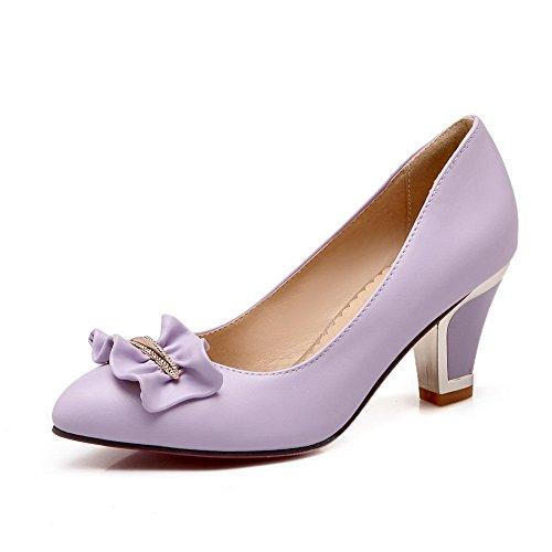 BalaMasa Womens Polka-Dots Pointed-Toe Pull-On Kitten-Heels Purple Rubber Pumps-Shoes - 5.5 B(M) US