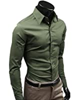 Promithi New Mens Luxury Casual Slim Fit Stylish Dress Shirts 17 Colors 5 Size
