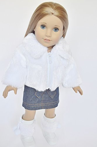 WHITE FUR JACKET FOR AMERICAN GIRL DOLLS