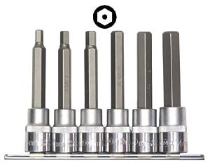 Famex Werkzeug 10737-6 Allen Key Bit Set with Security Hole 1/2 Inch Drive 6 -14 mm 6 Piece
