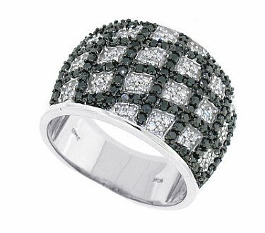 1.08ctTW Black and White Diamond WeddIng Band in 14Kt White Gold-L