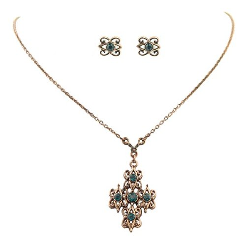 Aquamarine Filigree Cross Necklace & Earrings Set