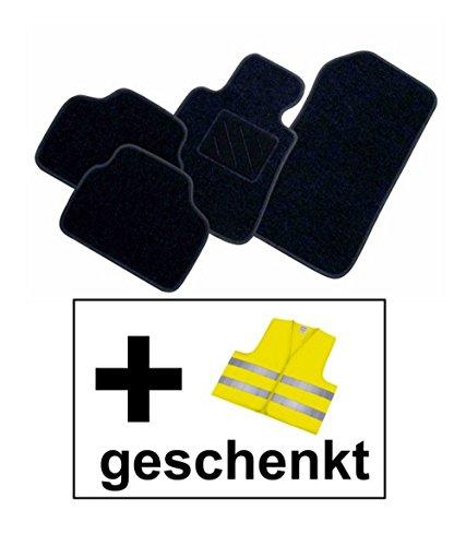 RAU Passform Fussmatte FREE schwarz inkl. Warnweste gelb für Mercedes E-Klasse W211 / S211 Limousine / T-Modell Kombi Bj. 03/02 - 02/09 mit Mattenhalter vorne