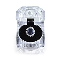 Oval Blue Sapphire Color CZ Engagement Ring Silver Plated 5ct with Crystal Gift Box