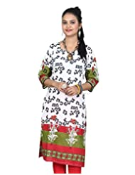 Chhipa Women Hand Block Printed White Panel Kurta