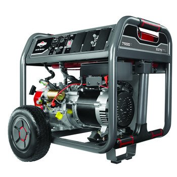 Briggs & Stratton 30549 7500-Watt Gas Powered Portable Generator With 2100 Series Ohv 420Cc Engine And Never Go Flat Wheels, 4 Standard Outlets
