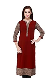 Cottinfab Women Rayon Brown Kurta (Medium)