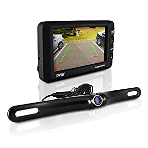 Pyle Wireless Backup Camera Kit  - Rear View Camera and 4.3 Dashboard Monitor - Features a License Plate Mounted Weatherproof Aluminum Housing with Night Vision and Distance Scale Lines For Parking Cars Hitch Backing - Easy installation