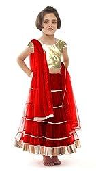 Awesome Fab Red Colour Soft Net Semi-stitched Laced Lehenga Choli