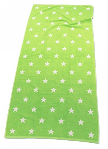 XXL LASA STRANDTUCH 85x200cm STERNE HANDTUCH 6 FARBEN AUSWAHL BAUMWOLLE FROTTIER, Farbe:Grün