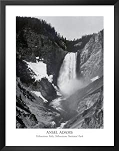 Professionally Framed Ansel Adams Yellowstone Falls Park Art Print POSTER - 22x28 with Solid Black Wood Frame