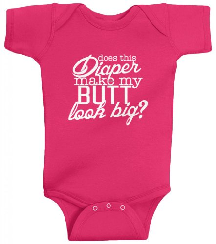Threadrock Unisex Baby Does This Diaper Make My Butt Look Big Bodysuit 6M Hot Pink front-587956