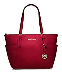 Michael Kors Jet Set East West Top Zip Saffiano Leather Tote in Cherry Red