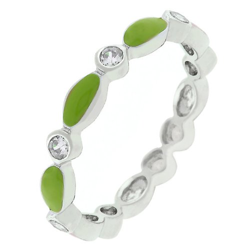 Round Cut Cubic Zirconia CZ and Lime Green Enamel Silver Tone Promise Ring (Size 5,6,7,8,9,10)