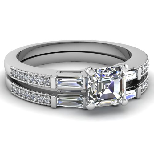 0.70 Ct Splendor Trinity Asscher Cut Flawless Diamond Wedding Rings Set E-Color Gia Certified # 1159415168