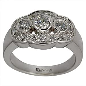 Wide Vintage Diamond Band With 1.00cts Fine White Diamonds In 18K White Gold Antique Diamond Band - 7