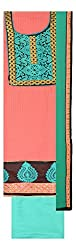 La Rose Women's Cotton Unstitched Dress Material (Peach and Rama Green)
