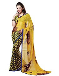 Indian Designer Sari Groovy Floral Printed Faux Georgette Saree By Triveni