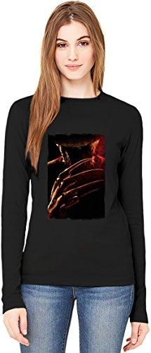 Nightmare on elm street killer T-Shirt da Donna a Maniche Lunghe Long-Sleeve T-shirt For Women| 100% Premium Cotton Ultimate Comfort X-Large