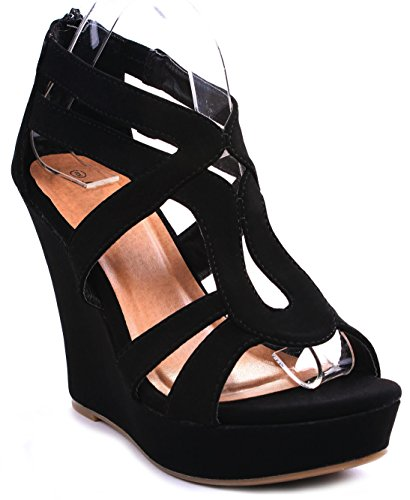 JJF Shoes Lindy-3 Black Strappy Nubuck PU Comfort Gladiator Dress Platform High Wedge Sandals-9