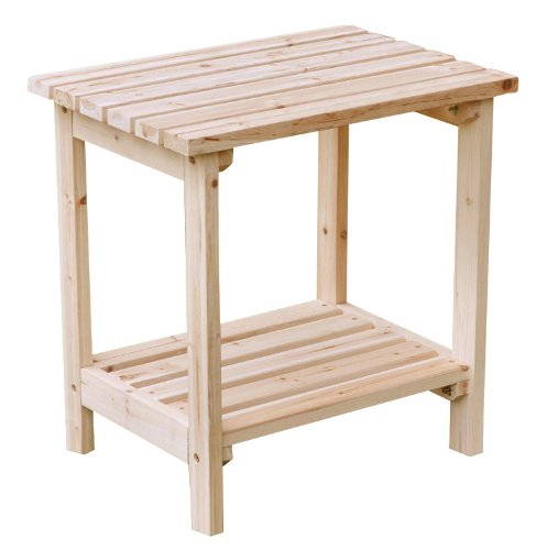 Shine Company Rectangular Patio Side Table, Small, Natural image