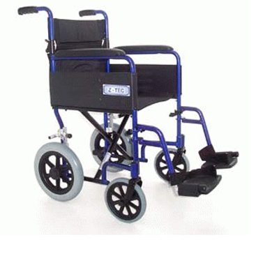Z-TEC Folding Aluminium Transit Wheelchair in Metallic Blue