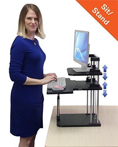 UpTrak Grande Sit/Stand Desk Riser - Two-Level, Height Adjustable, Lightweight Standing Desk! (Black)