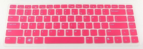 Silicone Laptop Keyboard Cover Skin Protector For Dell Xps L502 L502X, Inspiron M5040 N5040 N5050 N4110 N4120 N4050 N411Z 7520 5420, Vostro 3350 V3350 3450 V3450 V3460 3550 3555 V1440 V1450 V131 Us Layout (Hot Pink Semitransparent) + Swan Card Case For Cr