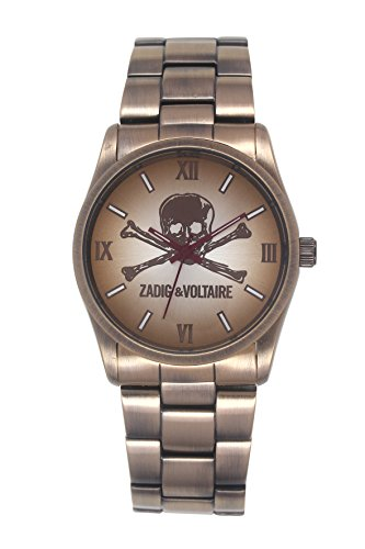 Zadig Voltaire ZV &007/8UM Rock Unisex Watch Analogue Quartz Dial Steel Strap with Beige Tan