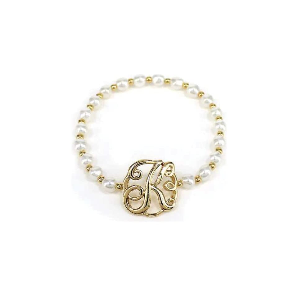 """Goldtone Imitation Pearl Initial Charm Stretch Bracelet    Letter """"K"""" Jewelry"""