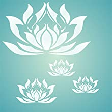Lotus Flower Stencil - Combine Different Sizes to Get This Effect size 5quotw x 3quoth- Reusable Wal