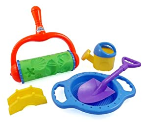 Stars and Shells Sand Roller Beach Toy Set for Kids with Shovels, Sifting Pan, Castle Mold & Watering Can from Beach Bucket Toys