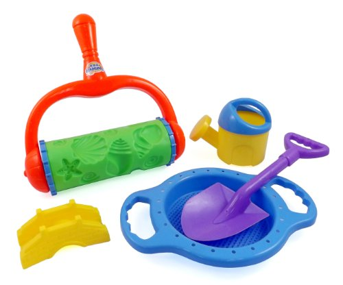 Stars and Shells Sand Roller Beach Toy Set for Kids with Shovels, Sifting Pan, Castle Mold & Watering Can