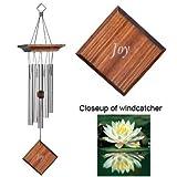 41btIkjmtzL. SL160  Woodstock   Tuned Wind Chimes ~ Reflections Chime   Sentiments: Joy ~ Teak Finish Pine Wood   5 Silver Anodized Aluminum Tubes   18 Overall   RJ