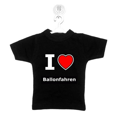 I love Ballonfahren - Mini T-Shirt f&#252;r Autoscheibe, Fenster, usw.