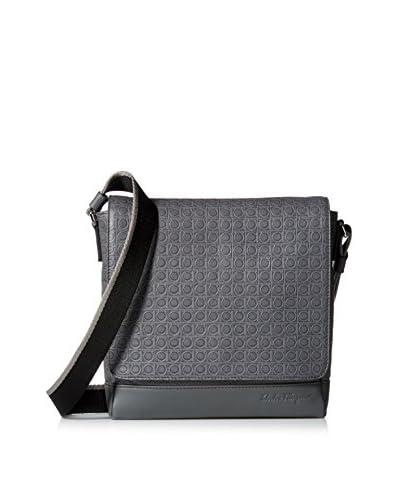 Salvatore Ferragamo Men's Medium Textured Leather Shoulder Bag, Grey