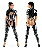 PVC Open Crotch Catsuit Fancy Dress Costume llz7193 fits 10,12,14